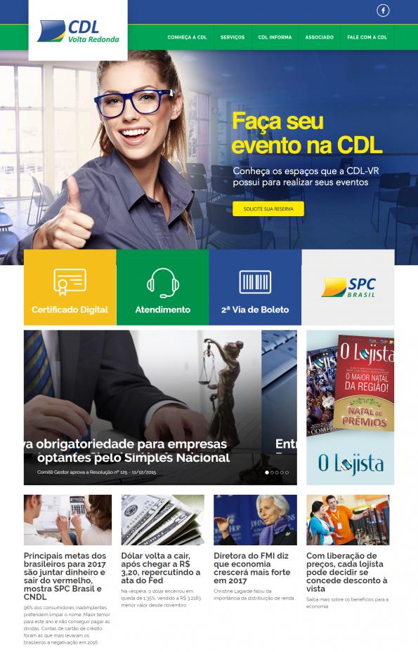 Site da CDL Volta Redonda acessado via desktop